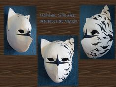 So if you've seen my Itachi weasel mask already the directions to make this one is EXACTLY the same as the last. This was my second mask. Skull Mask, Cat Mask, Mascara Anbu, Uta Tokyo Ghoul Cosplay, Anbu Mask, Cosplay Helmet, Kitsune Mask, Japanese Outfits, Japanese Clothing