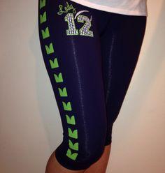 Seahawks Leggings or Yoga Pants by Lady Seahawks Gear, Seahawks Fans, Seahawks Football, Seattle Football, Seattle Seahawks, Yoga Capris, Yoga Pants, Womens Capri Pants, 12th Man