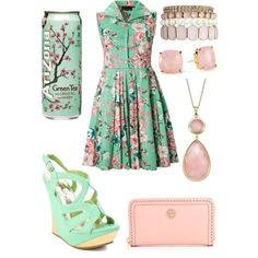 Arizona tea (cherry blossom) I'm not sure that I love this but it is still pretty cute Teen Fashion, Spring Fashion, Fashion Outfits, Womens Fashion, Arizona Green Teas, Arizona Tea, My Unique Style, My Style, Turquoise Clothes