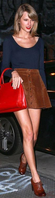Taylor Swift: Purse – J. Mendel  Shoes – Frye  Skirt – Brandy Melville  Sunglasses – Ray Ban