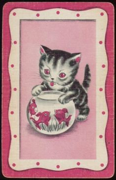 Vintage  Playing Card Kitten with Fishbow.