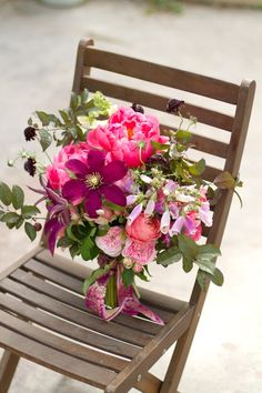 berry colored bouquet - clematis, foxglove, scabiosa, roses...adore!