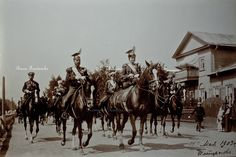 Emperor Nicholas II and Empress Alexander wearing Uhlan (Lancer) uniforms at 1903 parade in Peterhof .  Photo depicts Baron Freedericks - Minister of the Imperial Court; Grand Duke Vladimir Alexandrovich - son of Alexander II and uncle of Nicholas II; and Prince Felix Yusupov Count Sumarokov-Elston  -  Commander of Cavalry of the Imperial Guards.