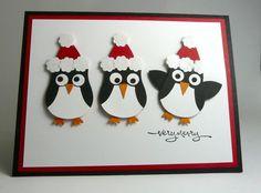 handmade penguin christmas card using owl punch and wearing santa hats Stampin Up Christmas, Handmade Christmas, Christmas Crafts, Santa Cards Handmade, Christmas Punch, Christmas Birthday, Christmas Christmas, Xmas Cards, Holiday Cards