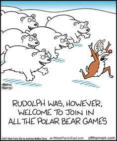 Off the Mark by Mark Parisi for Thursday, December 2017 Funny Christmas Cartoons, Christmas Jokes, Funny Cartoons, Cartoon Humor, Merry Christmas, Polar Bear Games, Bears Game, Laughter Therapy, Snoopy Pictures