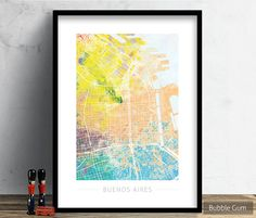 Buenos Aires, Argentina Street Map Art Print Watercolor Illustration Wall Art Poster Home Decor Gift Embossed COLOUR THEMES  These prints come in a variety of colours - the prints have a textured finish to the colour.  Styles/Themes (Corresponding to Images Above):  Art Style #1: Bubble Gum Embossed Art Style #2: Ice Cream Embossed Art Style #3: Rain Forest Embossed Art Style #4: Sun Flare Embossed   ★★★ This listing is for a PRINT ONLY. FRAME IS NOT INCLUDED ★★★ ►ART QUALITY: - We use A...