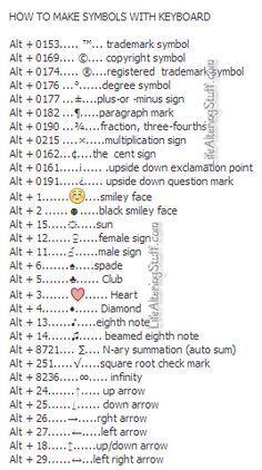 How to make symbols with the Keyboard Computer Shortcuts Simple Life Hacks, Useful Life Hacks, 1000 Life Hacks, Literacia Digital, Keyboard Symbols, Computer Shortcut Keys, Computer Help, Computer Tips, Computer Keyboard