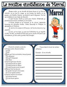 Teach Your Child to Read - La routine quotidienne de Marcel Plus - Give Your Child a Head Start, and.Pave the Way for a Bright, Successful Future. French Flashcards, French Worksheets, French Teaching Resources, Teaching French, Marcel, French Practice, High School French, French Course, Material Didático