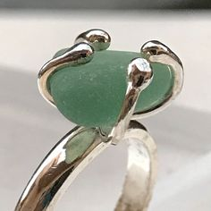 Ocean green sea glass ring, one of a kind