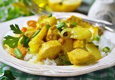 Curry de pollo y vegetales con cúrcuma y turmérico. Cocina una comida completa con esta receta para toda tu familia. Condimentado. Meat Recipes, Thai Red Curry, Potato Salad, Favorite Recipes, Chicken, Sweet, Ethnic Recipes, Food, Oriental