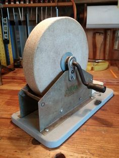 "'Ohioan', 8"" water bath, hand crank sandstone grinding wheel."