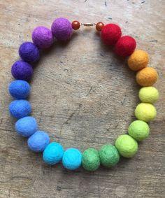 Rainbow felt necklace, felt bead necklace, wool necklace, statement necklace