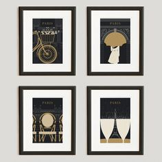 Paris Travelers Print Collection, 13x19, Black and Gold #Paris - Celebrates the things you do in Paris rather than the things you see.