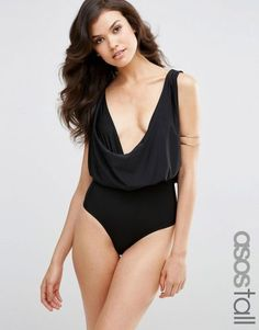 ASOS TALL Cowl Neck Swimsuit – Black