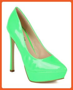 Wild Rose BA68 Women Patent Leatherette Pointy Toe Platform Stiletto Heel Pump - Neon Green (Size: 8.5) - Pumps for women (*Amazon Partner-Link)