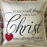 SOFT FURNISHING – #CUSHION WITH VERSE BY KIM'S COLLECTION R295 I can Do all things through #Christ who strengthens me. A note of #encouragement...