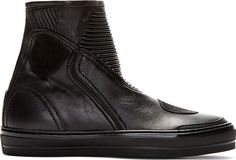 Alexander McQueen - Black Leather High Top Sneakers