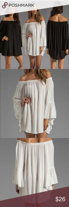 """4th Sale Off Shoulder Hobo Mini Dress XL White loose hobo mini dress. Measures 21"""" from armpit to armpit and 30"""" length. Unbranded Dresses Mini"""