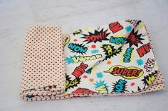 comic print baby/toddler blanket by MamaMandolin on Etsy, $50.00