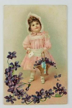 Postcard Tucks Happy Birthday Girl Pink Dress Basket of Flowers an Card | eBay