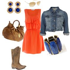love the colors and the crop jean jacket... maybe I'm an auburn fan at heart ;)