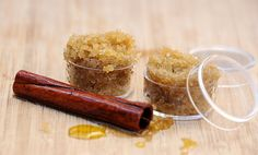 diy: delicious cinnamon & sugar lip scrub  1-2 tablespoons of cinnamon oil {see this post to make your own}  1/2-1 tablespoon of raw sugar   1 tablespoon of brown sugar   a drop of vanilla
