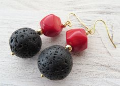 Black lava earrings, red coral earrings, dangle earrings, rustic earrings, coral jewelry, italian gemstone jewellery, gift for her, gioielli