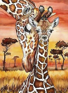 Diamond Painting Kit Motherly love Giraffe Mosaic Diamonds, Zoo Diamond Embroidery, Paint With Diamonds, Diamond Paintings Full Drill - Happy Tiere Giraffe Drawing, Giraffe Painting, Giraffe Art, Painting Art, Giraffe Images, Giraffe Photos, Africa Painting, Baby Drawing, Silk Painting