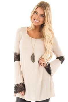 Taupe Top with Black Lace Sleeve Detail front close up