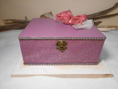 Girly wooden box Romantic box Pink box Jewelry box by Zozelarium Wooden Boxes, House Warming, Purple, Pink, Jewelry Box, Decorative Boxes, Girly, Romantic, Colours