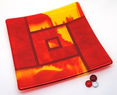 Red Orange Yellow Fused Glass Art Plate, Home Decor by ModMixArt on Etsy https://www.etsy.com/listing/111330871/red-orange-yellow-fused-glass-art-plate