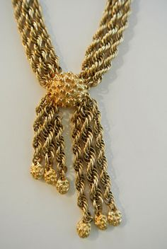 Vintage Monet Rope Chain And Centerpiece With Dangles Necklace  $45.00