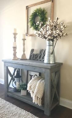 """modified Ana White's Rustic X Console table, 48"""" wide and no middle shelf, used Minwax Classic Gray stain #RusticLogFurnitureentryway"""