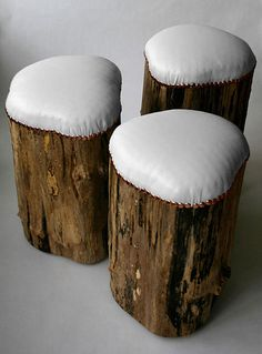 Stump stools. Outdoor grade vinal 'leather', poly-fill, and decor tacks. So easy! (And 'all weather' if used outside!)