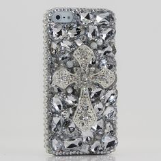Bling iphone 5 case Luxury 3D Swarovski Crystal Diamond Silver Cross Design Case Cover for iphone 5. $75.00, via Etsy.