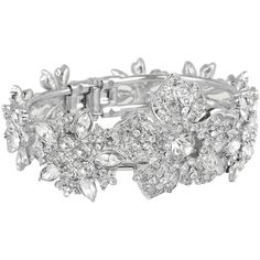 Nina Galax Floral Melange Cuff Bracelet (160 SGD) ❤ liked on Polyvore featuring jewelry, bracelets, accessories, rings, pulseiras, antique silver, flower jewellery, charm bangle, nina's jewellery and holiday jewelry