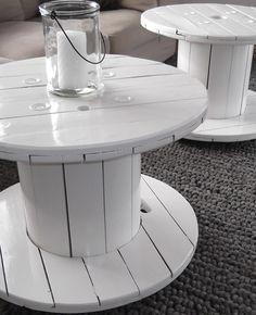 Interieuradvies Marcel & Margreet, Elst:  salontafels gemaakt van oude haspels. Wil jij ook advies over jouw interieur, ga naar mixinstijl.nl