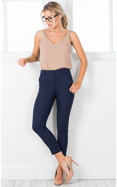Overtime pants in navy showpo. Navy Pants Outfit, Navy Blue Pants, Capri Outfits, Legging Outfits, Marine Hose, Pantalon Bleu Marine, Look Legging, Professional Attire, Summer Work Outfits