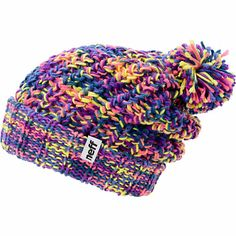 Take your look to the outer reaches with the multi-color look of the Neff girls Space purple and pink pom fold beanie. Blast your outfit with the colorful chunky knit purple, pink, blue, and yellow colorway, fold-over cuff with a Neff brand tag on hem, an
