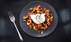 Roasted autumn vegetables with poached egg