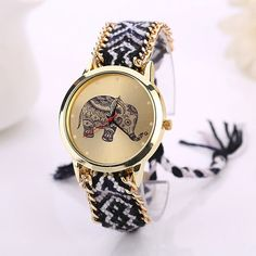 Women Elephant Pattern Weaved Rope Braid Band Bracelet Watches Women Ladies Analog Quartz Dial Wrist Watch Gift relogio feminino