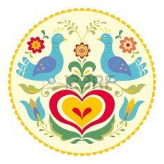 Las aves y el corazón, el estilo decorativo ilustración tradicional popular Foto de archivo