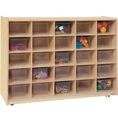 25-Tray Storage with Clear Trays PRE-16001D - Keep your classrooms neat and organized with the Healthy Kids Wooden Cubby Storage Cabinets. These durable and attractive units are designed to be easy to use and provide plenty of place for toys, games and classroom supplies.