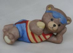 Beach Bear, Vintage Bronson Bear in Red White and Blue Outfit, Porcelain Bisque
