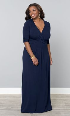 Celebrate the Memorial Weekend in comfort with our plus size Desert Rain Maxi Dress in Navy.  www.kiyonna.com  #KiyonnaPlusYou  #MadeintheUSA  #Holiday