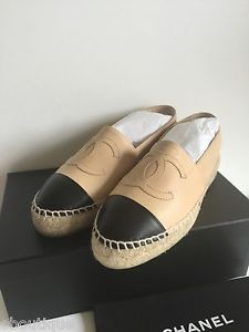 Chanel Espadrilles Leather Lambskin Beige Tan Size 39 / 9 eBoutique New