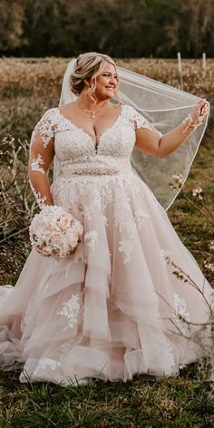Long Sleeve Blush Lace Plus Size Wedding Dress.The professional tailors from wedding dress manufacturer custom this long sleeve plus size wedding dress with any sizes and many other colors.Contact us to custom designer plus size wedding dress online. Plus Size Wedding Gowns, Long Wedding Dresses, Bridal Dresses, Gown Wedding, Dream Wedding, Wedding Cakes, Wedding Rings, Blush Lace Wedding Dress, Summer Wedding