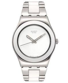 Swatch Watch, Women's Swiss Tresor Blanc and Stainless Steel Bracelet 33mm YLS141G | macys.com