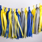 Navy, Yellow and Silver Hanging Tassle Garland | smith&bowen