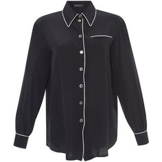 Rossella Jardini Menswear Button Down Shirt ($500) ❤ liked on Polyvore featuring tops, black and rossella jardini